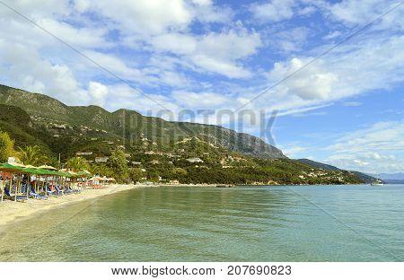 Ipsos Beach in Corfu a Greek island in the Ionian sea