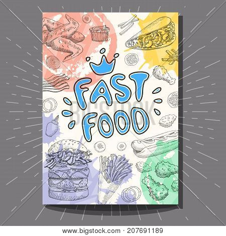 Fast food colorful vintage poster. Bright Cool food sketches composition. Fast food labels. Fries, burger, bacon, hot dog, pizza. Hand drawn vector illustration.