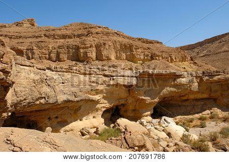 Dry waterfall in remote gorge in Negev desert Israel.