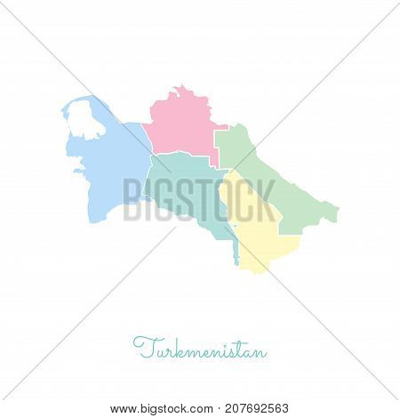 Turkmenistan Region Map: Colorful With White Outline. Detailed Map Of Turkmenistan Regions. Vector I