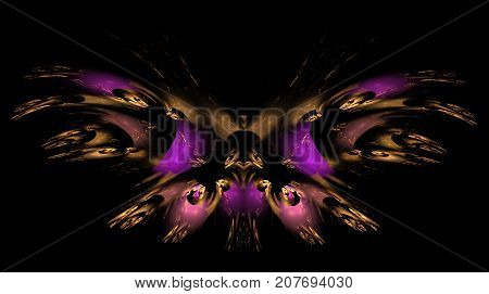 Abstract fractal background purple Decorative Butterfly. An abstract computer generated modern fractal design on dark background. Abstract fractal color texture. Digital art. Abstract Form & Colors. Abstract fractal element pattern for your design. colorf