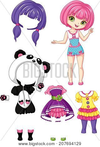 Girl Chibi, paper doll with clothes, EPS 8