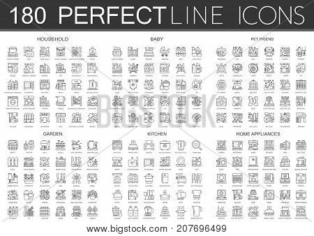180 outline mini concept icons symbols of household, baby, pet friend, garden, kitchen, home appliances icon isolated.