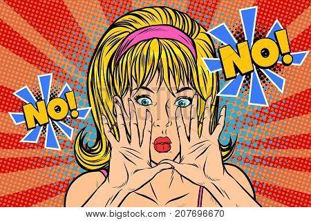 No pop art retro vintage blonde woman. Pop art retro vector illustration