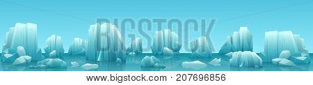 Vector wide web banner illustration of arctic landscape with icebergs and mountains. Winter panorama.