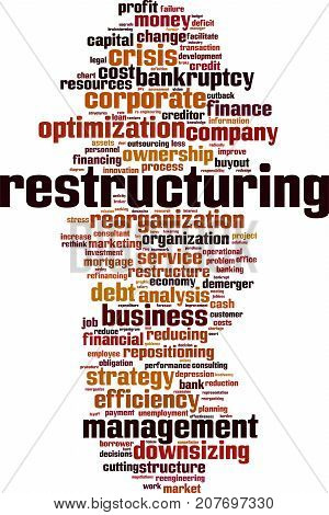 Restructuring word cloud concept. Vector illustration on white