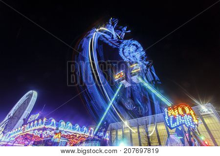Swansea, Wales, UK: December 07, 2015: Winter Wonderland free event for the christmas holidays with amusement rides and ice skating.