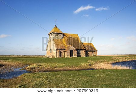 The 12th century Church of Thomas a Becket in Fairfield on Romney Marsh.