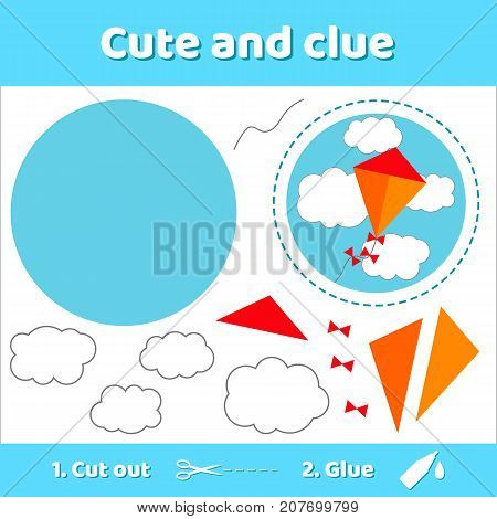Vector illustration. kite and clouds.. Education paper game for preschool kids. Use scissors and glue to create the image.
