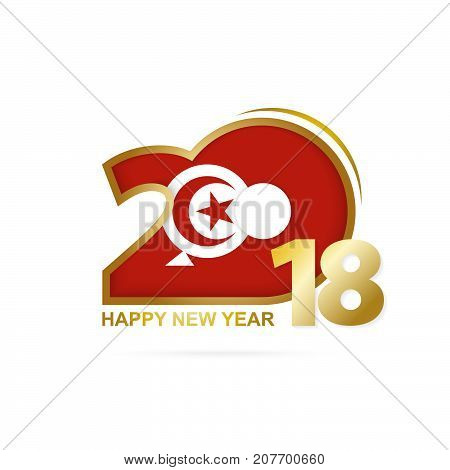 Year 2018 With Tunisia Flag Pattern. Happy New Year Design.