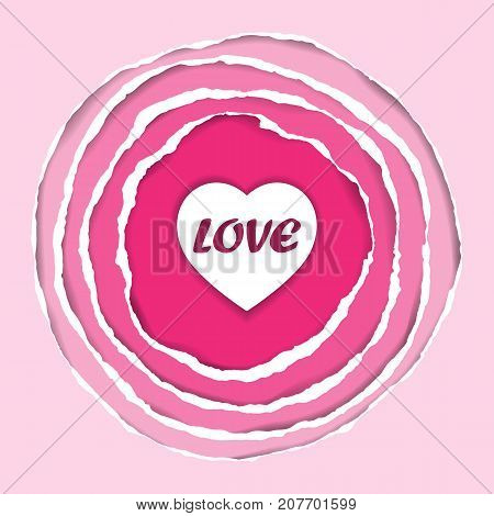 Ripped circle pink paper with heart. Romantic round composition with stripes frame on pink gradient background. Valentines greeting card with paper art.