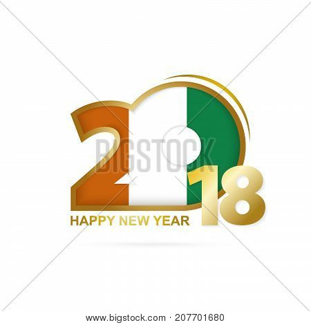 Year 2018 With Ivory Coast Flag Pattern. Happy New Year Design.