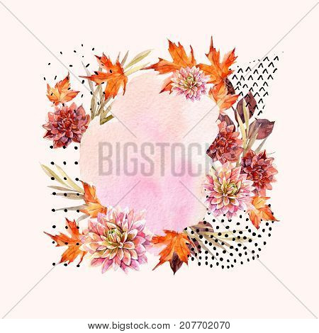 Autumn watercolor floral arrangement. Background with flowers leaves geometrical shapes filled with scrabble texture. Hand drawn watercolour art illustration for fall design.