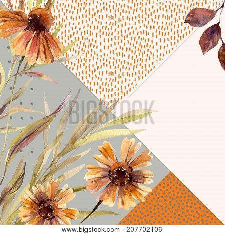 Autumn watercolor wreath on geometric background with flowers leaves doodles. Hand drawn dahlia flowers falling leaf triangles with scribble textures for fall design. Watercolour art illustration