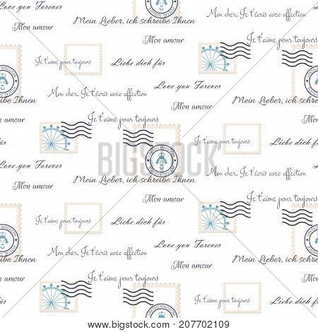 Romantic love letters seamless vector pattern on white. Inscriptions wrap paper design with mail stamps and text.