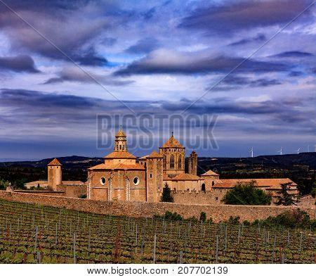 Santa Maria de Poblet monastery, Spain. Evening light