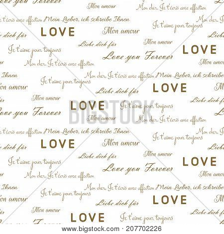 Love letters seamless vector pattern on white. Romantic valentine wrap paper gold and white text design.