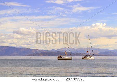 Albania coast Ionian sea - September 29 2017 : Two yachts off the coast of Albania in the Ionian sea