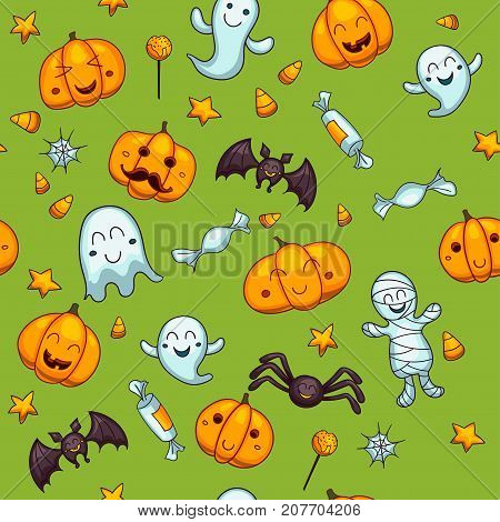 Halloween seamless vector pattern. One of big collection of design elements in traditional holiday colors. Cute cartoon design for kids, prints, textile, wrapping.