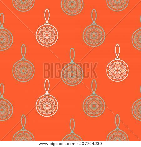 Christmas tree decoration seamless vector pattern. New Year eve toy balls red background. Retro holiday pattern for gift wrap paper.