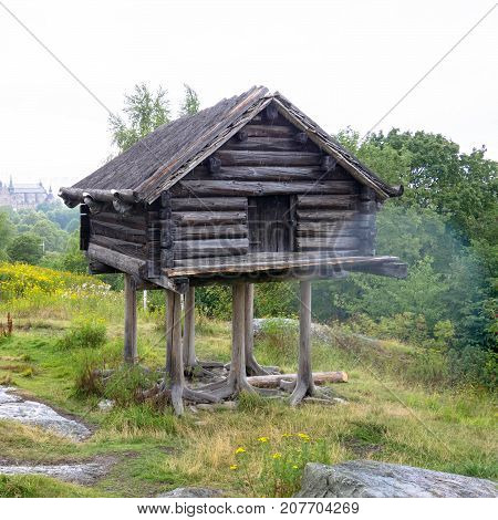 Unusual old house. Wooden house on chicken or bird legs stands on a rock. A house in which some fabulous creature lives.