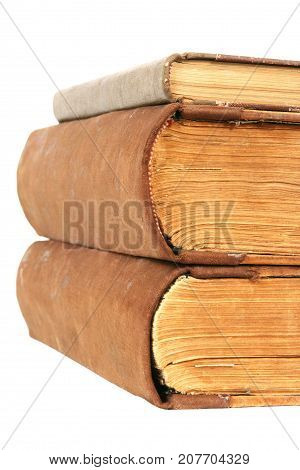 Old Books Stack, Book Back Spine, Aged Brown Papers and Cover