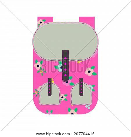 Pink backpack vector illustration. Girly rucksack with flowers.