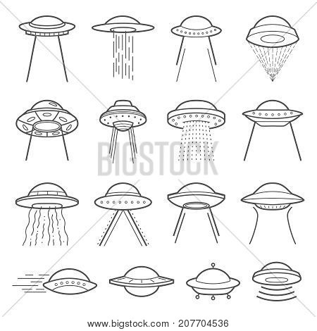 UFO logo vector elements. Mystical symbol paranormal phenomena, first contact, invasion of aliens
