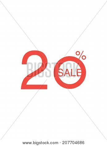 20 Off Discount Sticker. Sale Red Tag Isolated Vector Illustration. Discount Offer Price Label, Vect