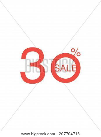 30 Off Discount Sticker. Sale Red Tag Isolated Vector Illustration. Discount Offer Price Label, Vect
