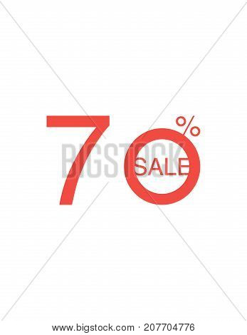 70 Off Discount Sticker. Sale Red Tag Isolated Vector Illustration. Discount Offer Price Label, Vect