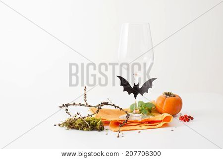 Decorating The Table For The Celebration Of Halloween Bats