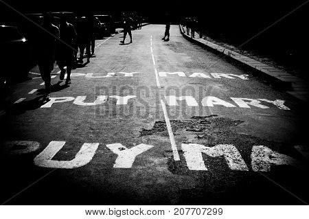 Painted road for cycling Tour de France Puy Mary.