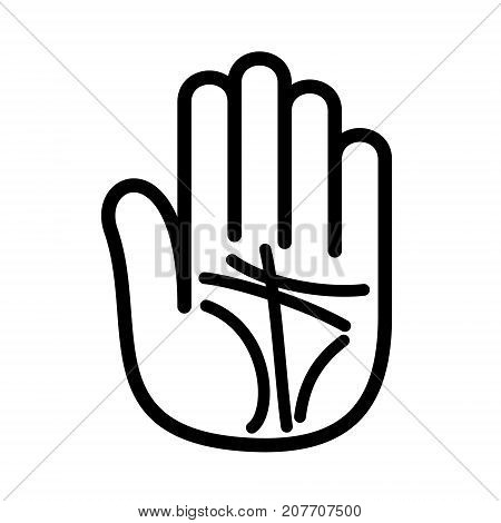 Palmistry lines open hand logo icon. Outline illustration of hand