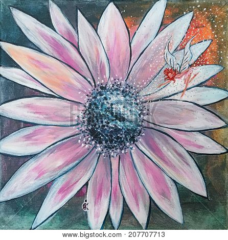 Acrylic painting on canvas of white daisy with fairy and ladybug