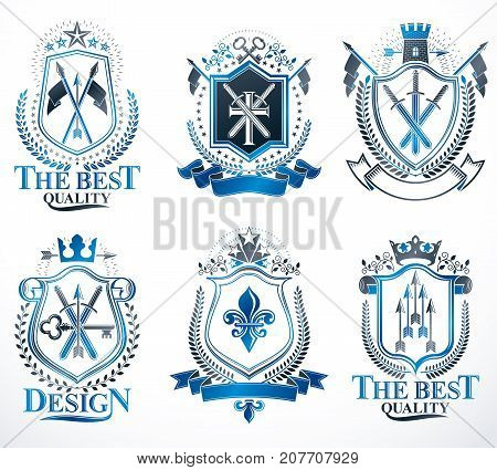 Set of vector retro vintage insignias created with design elements like medieval castles armory imperial crowns. Collection of coat of arms.