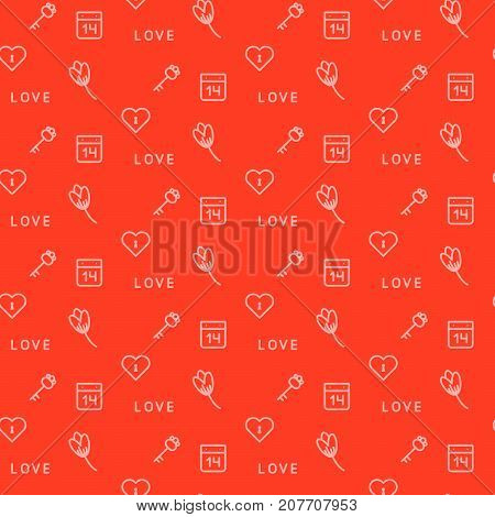 Red keys and flowers keys seamless vector pattern. Romantic valentine card or wrap paper design.