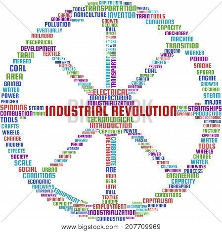 Industrial Revolution Word Cloud Text Illustration in shape of a Cartwheel. Industrial Revolution keyword tags isolated vector. Transparent.