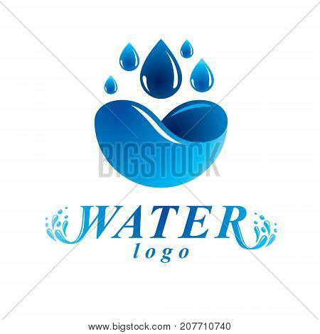 Global water circulation vector logotype for use in spa and resort organizations. Environment protection concept.