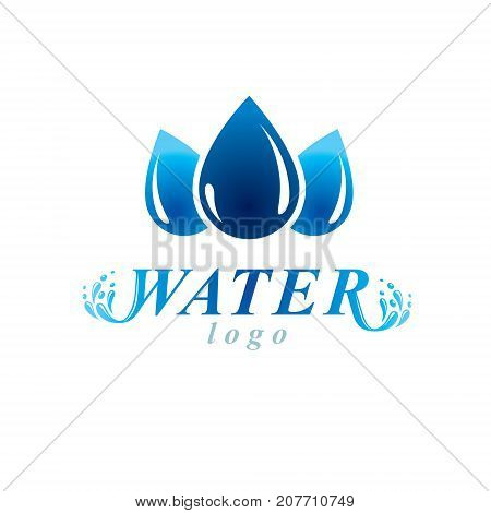 Fresh mineral water design vector emblem for use as marketing design symbol. Living in harmony with nature concept.