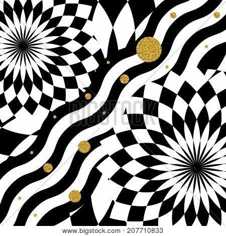 Golden circles on a contrasting geometric black and white background, kaleidoscope pattern.