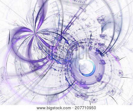 Modern fractal mechanical background. Time machine digital artwork for creative graphic design. Abstract fractal steampunk machine