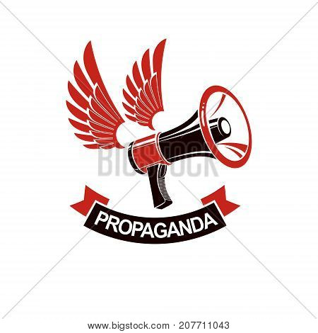 Loudspeaker winged vector logo isolated on white. Misleading and brainwashing information hoax and fiction