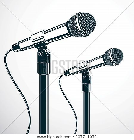 Stage microphones vector illustration isolated on white. Press conference influence of social message.