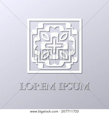 Art Deco White Ornamental Logo. Template For Design. Vector Illustration Eps10