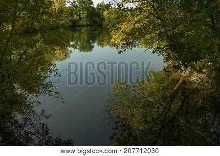 Pond. Park pond. Pond in the Park. Park landscape. Autumn landscape.