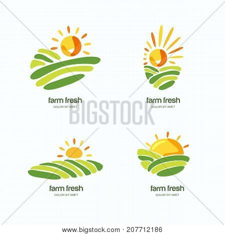 Farm And Farming Vector Logo, Label, Emblem Design Template. Isolated Illustration Of Green Fields L