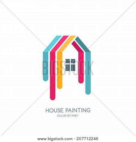 Vector Logo, Emblem Design With Painted Home. House Painting Service, Decor Icon. Concept For Home D