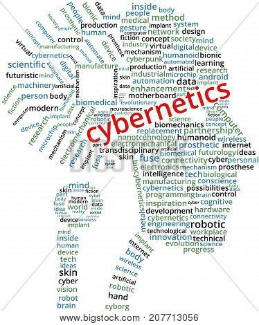 Cybernetics Word Cloud Text Illustration in shape of a human head circuit. Cybernetics brain chip keyword tags isolated vector. Transparent.