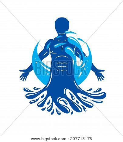 Vector graphic illustration of strong male body silhouette surrounded by a water ball. Living in harmony with nature.